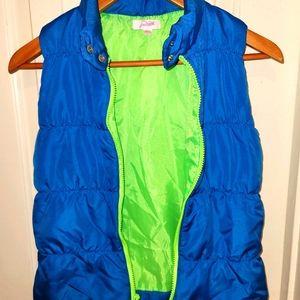 Grane blue & neon green puffy vest, L